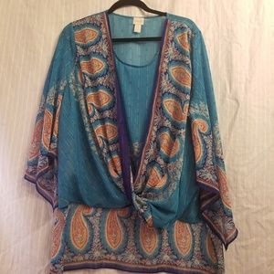 Chico's Teal high low boho blouse size 3 xl